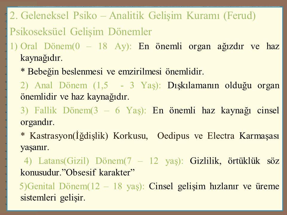 4) Psiko – Sosyal Gelişim Kuramı / İnsanın 8 Çağı Gelişim Dönemler e) Kimliğe Karşı Kimlik Bunalımı (11 – 17 Yaş) * «Ben Kimim?» sorusunun sorulduğu ve kimlik arayışının yoğunlaştığı dönemdir.