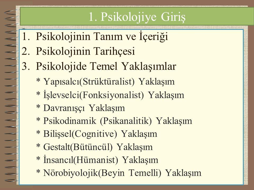 1. Psikolojiye Giriş 1.Psikolojinin Tanım ve İçeriği 2.Psikolojinin Tarihçesi 3.Psikolojide Temel Yaklaşımlar * Yapısalcı(Strüktüralist) Yaklaşım * İş