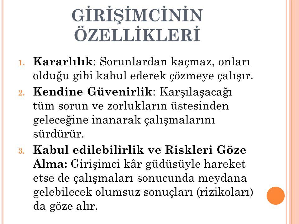 GİRİŞİMCİNİN ÖZELLİKLERİ 1.