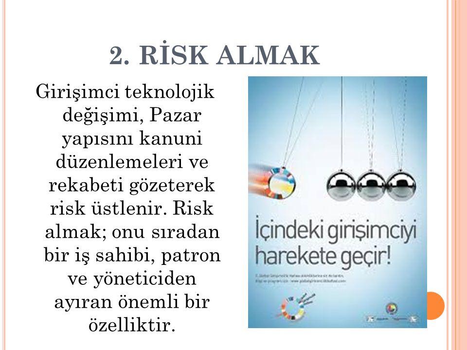 2. RİSK ALMAK Girişimci teknolojik değişimi, Pazar yapısını kanuni düzenlemeleri ve rekabeti gözeterek risk üstlenir. Risk almak; onu sıradan bir iş s