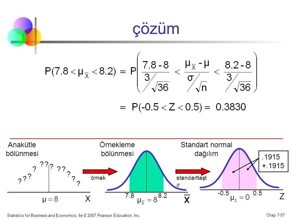 Statistics for Business and Economics, 6e © 2007 Pearson Education, Inc. Chap 7-57 çözüm Z 7.8 8.2 -0.5 0.5 Örnekleme bölünmesi Standart normal dağılı
