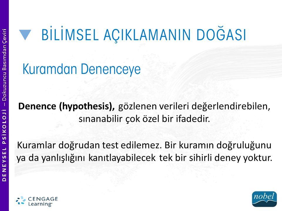 Denence (hypothesis), gözlenen verileri değerlendirebilen, sınanabilir çok özel bir ifadedir.