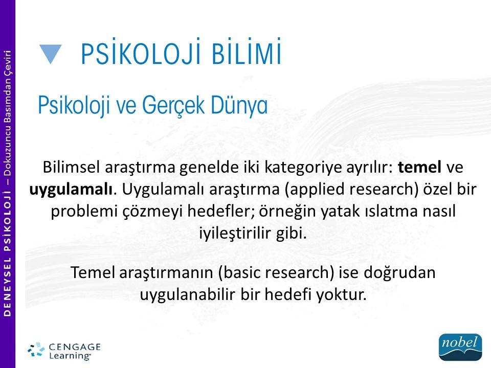 Bilimsel araştırma genelde iki kategoriye ayrılır: temel ve uygulamalı. Uygulamalı araştırma (applied research) özel bir problemi çözmeyi hedefler; ör
