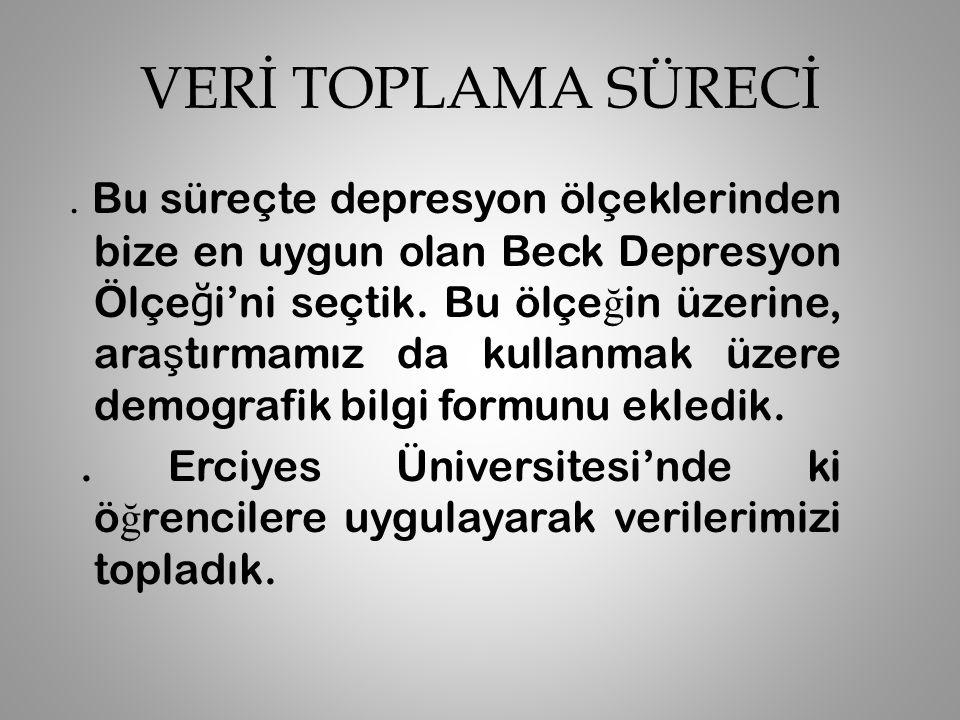 VERİ TOPLAMA ARACI Araştırmada sosyodemografik durum ve sorun alanlarını belirlemeyi amaçlayan bir anket ile, öğrencilerin depresif belirtilerinin derecesini belirleyen, Türkiye'de geçerlilik ve güvenilirlik çalışması yapılmış olan Beck Depresyon Ölçeği (BDÖ) kullanlarak toplanmıştır.