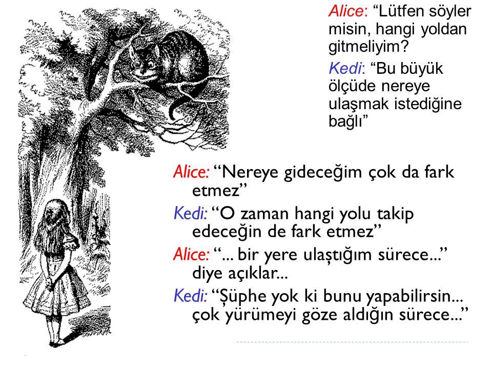 """Alice: """"Lütfen söyler misin, hangi yoldan gitmeliyim? Kedi: """"Bu büyük ölçüde nereye ulaşmak istediğine bağlı"""" Alice: """"Nereye gidece ğ im çok da fark e"""