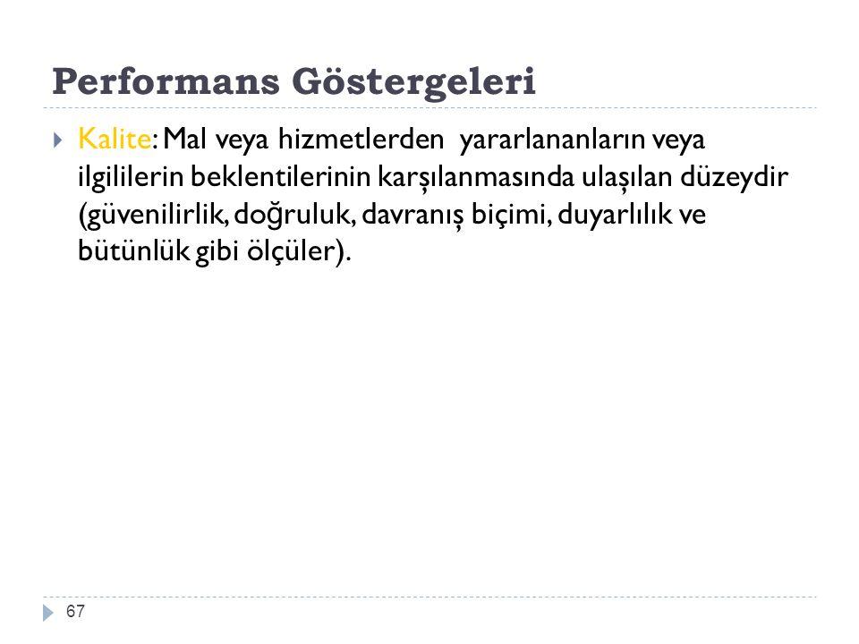 Performans Göstergeleri 67  Kalite: Mal veya hizmetlerden yararlananların veya ilgililerin beklentilerinin karşılanmasında ulaşılan düzeydir (güvenil
