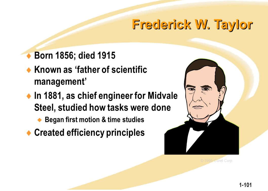 1-101 Frederick W. Taylor  Born 1856; died 1915  Known as 'father of scientific management'  In 1881, as chief engineer for Midvale Steel, studied