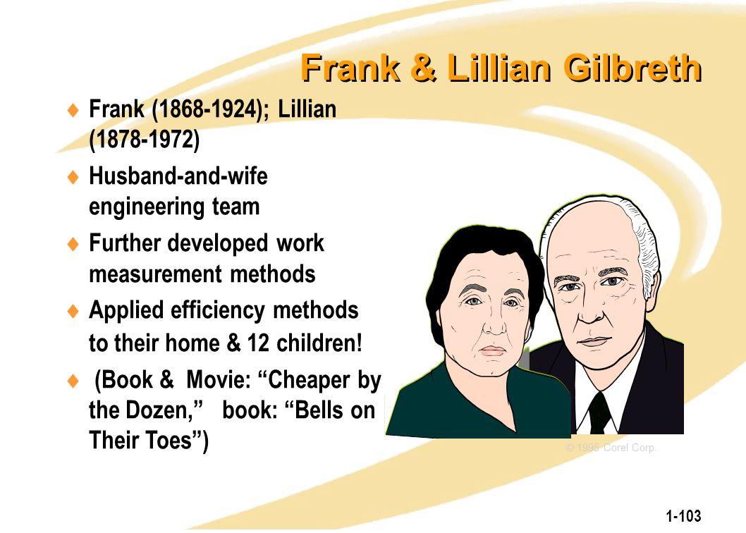 1-103 Frank & Lillian Gilbreth  Frank (1868-1924); Lillian (1878-1972)  Husband-and-wife engineering team  Further developed work measurement metho