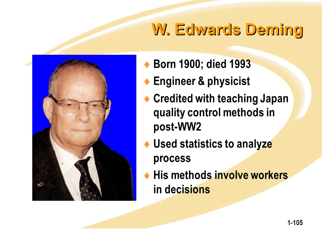 1-105 W. Edwards Deming  Born 1900; died 1993  Engineer & physicist  Credited with teaching Japan quality control methods in post-WW2  Used statis
