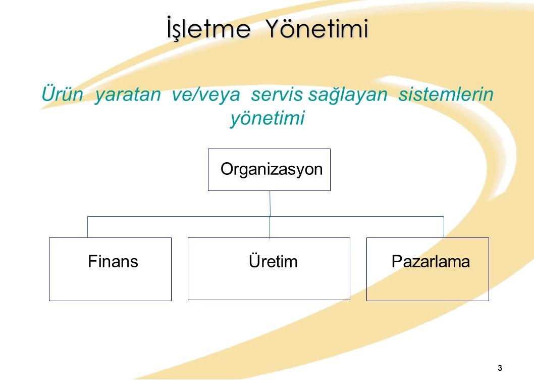 İşletme Yönetimi Ürün yaratan ve/veya servis sağlayan sistemlerin yönetimi Organizasyon Finans Üretim Pazarlama 3