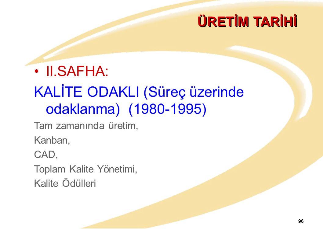 96 ÜRETİM TARİHİ II.SAFHA: KALİTE ODAKLI (Süreç üzerinde odaklanma) (1980-1995) Tam zamanında üretim, Kanban, CAD, Toplam Kalite Yönetimi, Kalite Ödül
