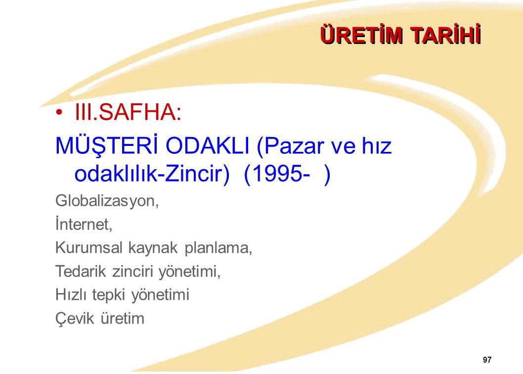 97 ÜRETİM TARİHİ III.SAFHA: MÜŞTERİ ODAKLI (Pazar ve hız odaklılık-Zincir) (1995- ) Globalizasyon, İnternet, Kurumsal kaynak planlama, Tedarik zinciri