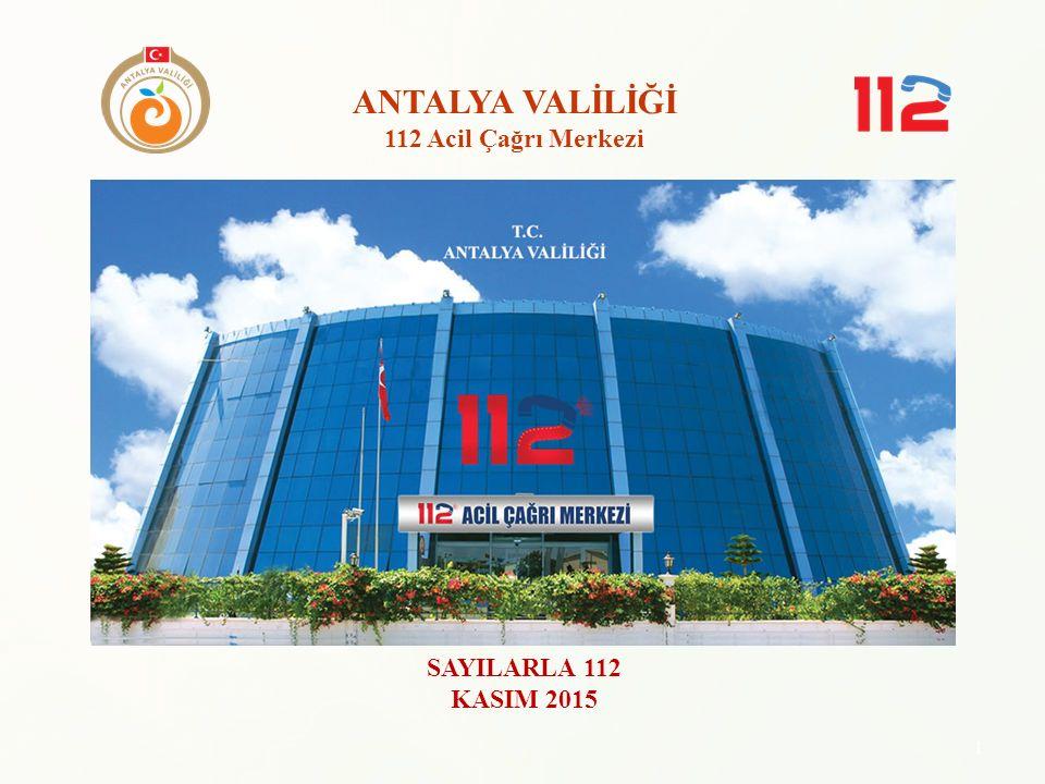 ANTALYA VALİLİĞİ 112 Acil Çağrı Merkezi SAYILARLA 112 KASIM 2015 1