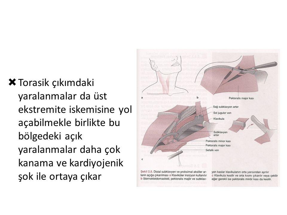 Ortopedik yaralanmalar ve arterler  Klavilula kırığı  Omuz dislokasyonu  Suprakondiler humerus k.