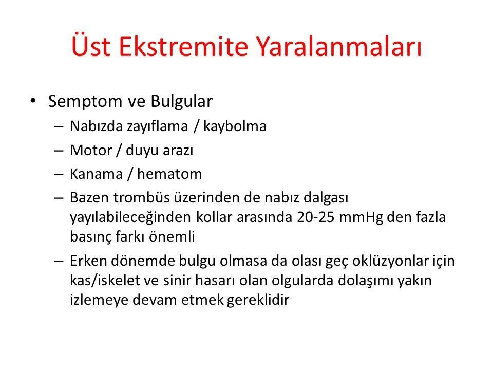 Üst Ekstremite Yaralanmaları Semptom ve Bulgular – Nabızda zayıflama / kaybolma – Motor / duyu arazı – Kanama / hematom – Bazen trombüs üzerinden de n