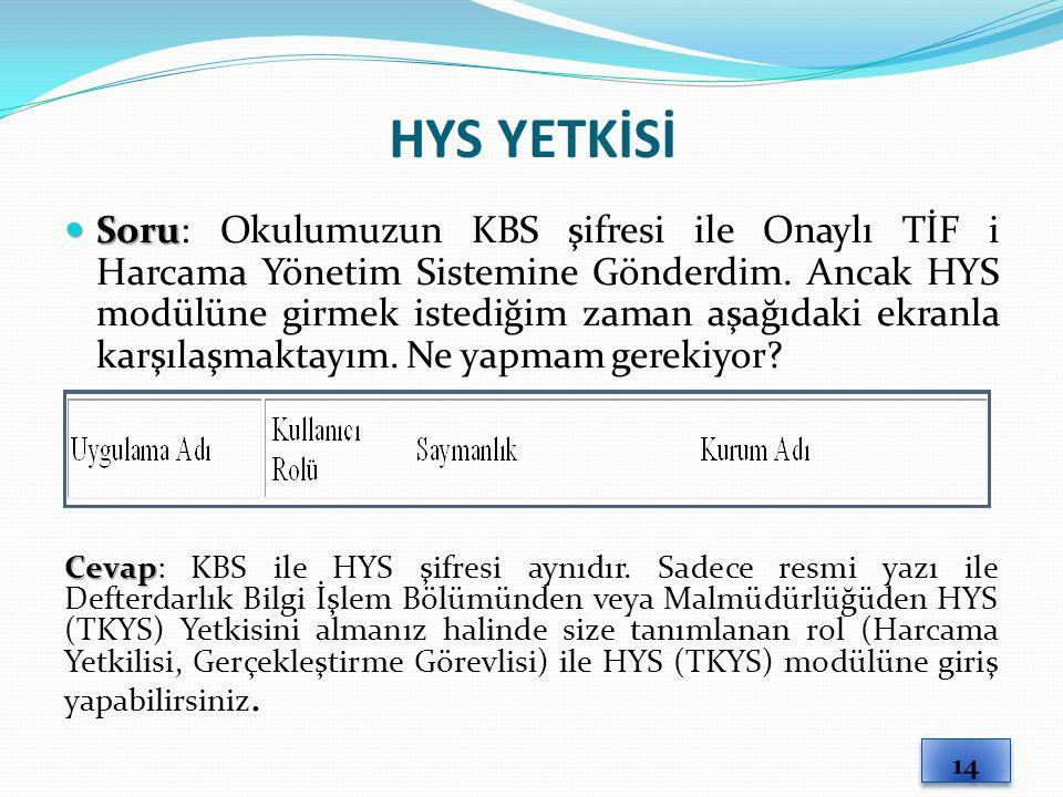 HYS YETKİSİ Soru Soru: Okulumuzun KBS şifresi ile Onaylı TİF i Harcama Yönetim Sistemine Gönderdim.