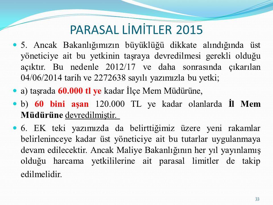 PARASAL LİMİTLER 2015 33 5. Ancak Bakanlığımızın büyüklüğü dikkate alındığında üst yöneticiye ait bu yetkinin taşraya devredilmesi gerekli olduğu açık