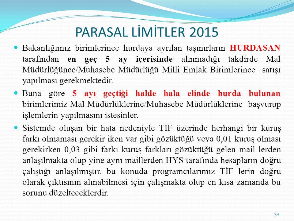 PARASAL LİMİTLER 2015 34 Bakanlığımız birimlerince hurdaya ayrılan taşınırların HURDASAN tarafından en geç 5 ay içerisinde alınmadığı takdirde Mal Müdürlüğünce/Muhasebe Müdürlüğü Milli Emlak Birimlerince satışı yapılması gerekmektedir.
