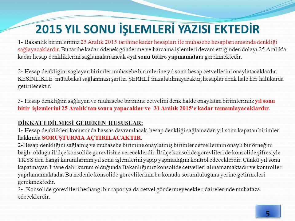 2015 YIL SONU İŞLEMLERİ YAZISI EKTEDİR 1- Bakanlık birimlerimiz 25 Aralık 2015 tarihine kadar hesapları ile muhasebe hesapları arasında denkliği sağlayacaklardır.