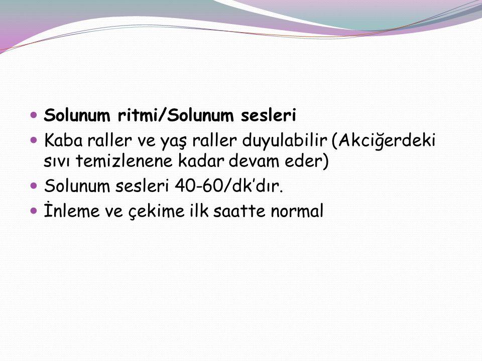 Solunum ritmi/Solunum sesleri Kaba raller ve yaş raller duyulabilir (Akciğerdeki sıvı temizlenene kadar devam eder) Solunum sesleri 40-60/dk'dır. İnle