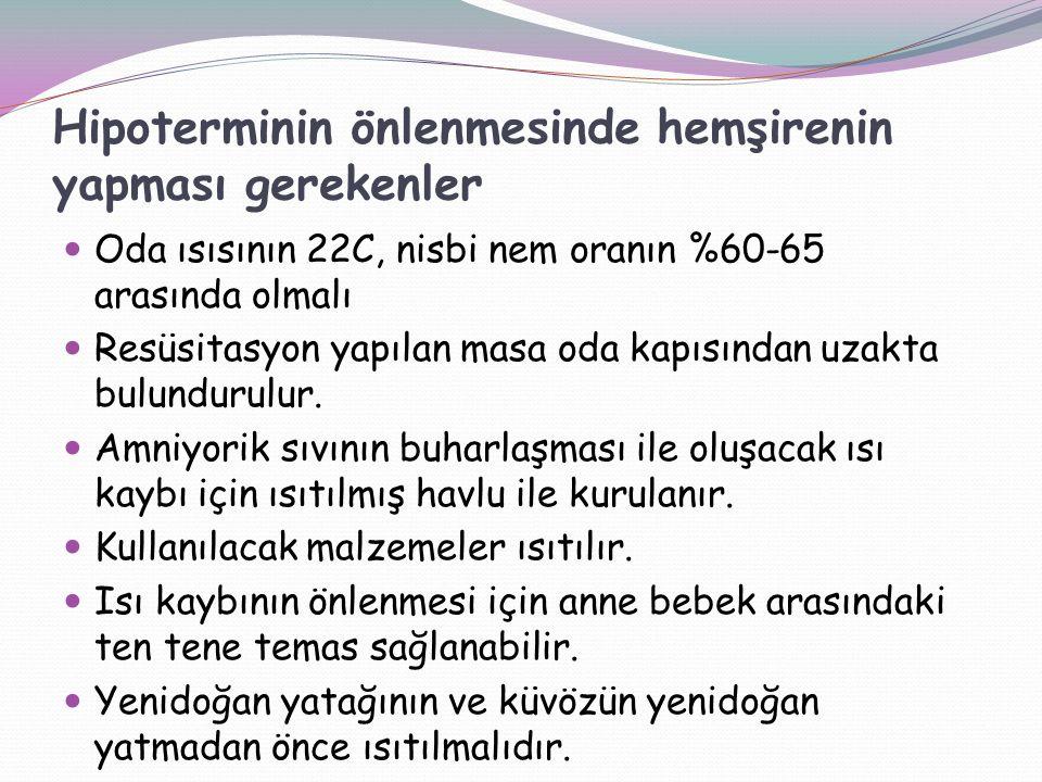 Hipoterminin önlenmesinde hemşirenin yapması gerekenler Oda ısısının 22C, nisbi nem oranın %60-65 arasında olmalı Resüsitasyon yapılan masa oda kapısından uzakta bulundurulur.
