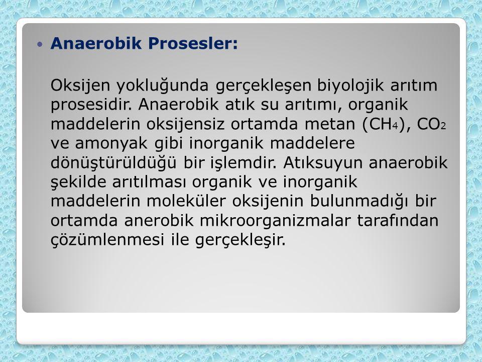 Anaerobik Prosesler: Oksijen yokluğunda gerçekleşen biyolojik arıtım prosesidir. Anaerobik atık su arıtımı, organik maddelerin oksijensiz ortamda meta