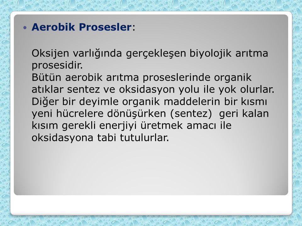 Aerobik Prosesler: Oksijen varlığında gerçekleşen biyolojik arıtma prosesidir. Bütün aerobik arıtma proseslerinde organik atıklar sentez ve oksidasyon