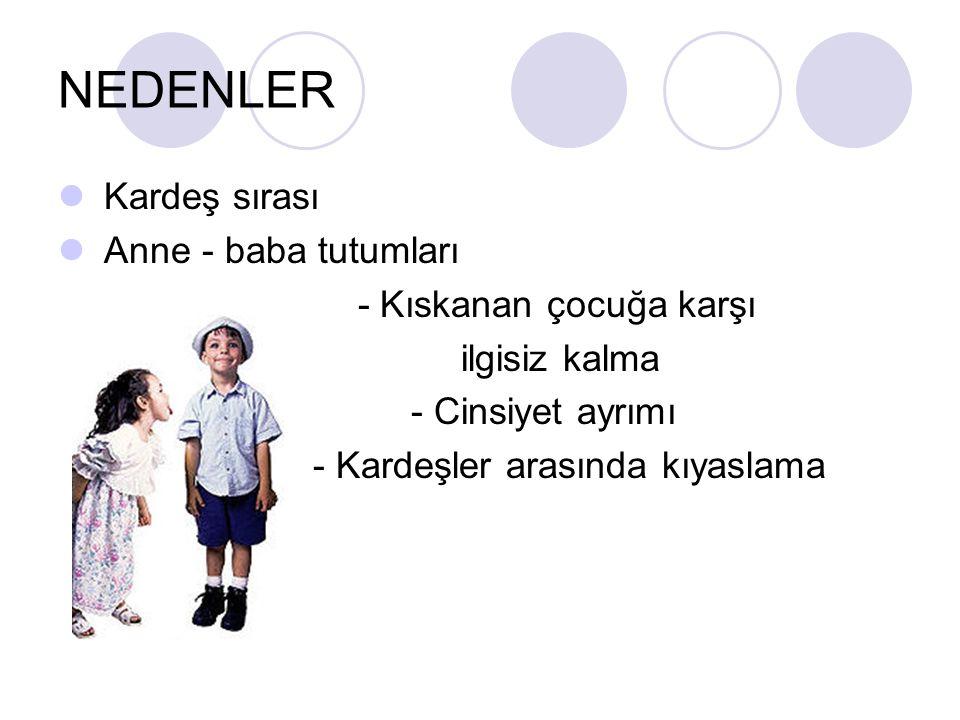 NEDENLER Kardeş sırası Anne - baba tutumları - Kıskanan çocuğa karşı ilgisiz kalma - Cinsiyet ayrımı - Kardeşler arasında kıyaslama