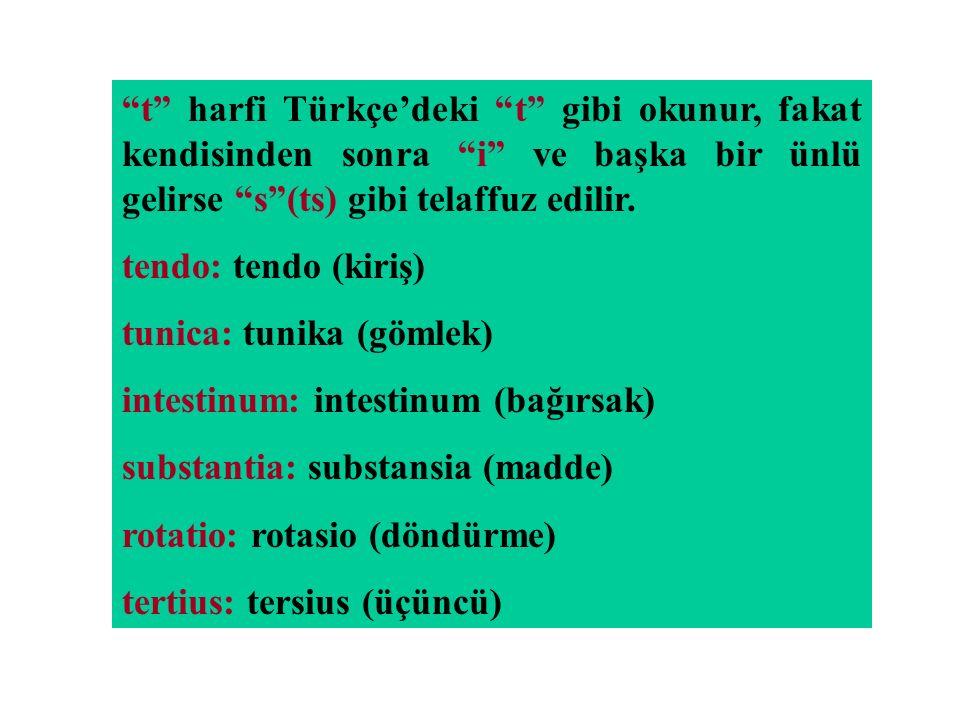 """""""t"""" harfi Türkçe'deki """"t"""" gibi okunur, fakat kendisinden sonra """"i"""" ve başka bir ünlü gelirse """"s""""(ts) gibi telaffuz edilir. tendo: tendo (kiriş) tunica"""