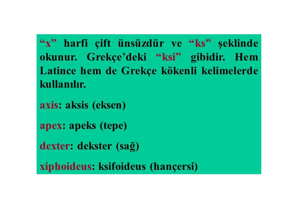 """""""x"""" harfi çift ünsüzdür ve """"ks"""" şeklinde okunur. Grekçe'deki """"ksi"""" gibidir. Hem Latince hem de Grekçe kökenli kelimelerde kullanılır. axis: aksis (eks"""