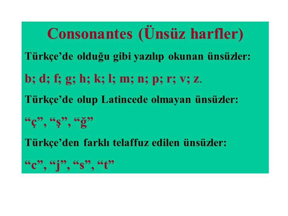 Consonantes (Ünsüz harfler) Türkçe'de olduğu gibi yazılıp okunan ünsüzler: b; d; f; g; h; k; l; m; n; p; r; v; z. Türkçe'de olup Latincede olmayan üns