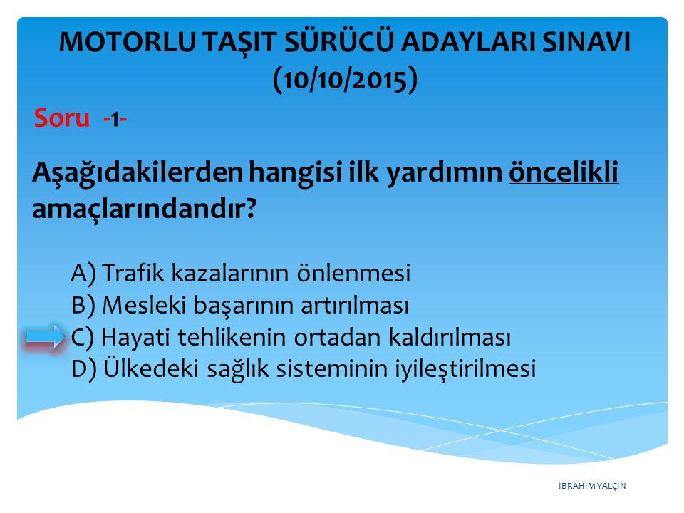 İBRAHİM YALÇIN MOTORLU TAŞIT SÜRÜCÜ ADAYLARI SINAVI (10/10/2015) Soru -22- Aşağıdaki trafik işaretlerinden hangisi tali yolda bulunur.