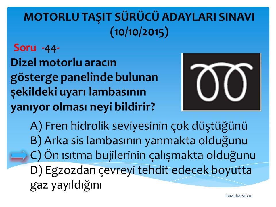 İBRAHİM YALÇIN MOTORLU TAŞIT SÜRÜCÜ ADAYLARI SINAVI (10/10/2015) Soru -44- Dizel motorlu aracın gösterge panelinde bulunan şekildeki uyarı lambasının