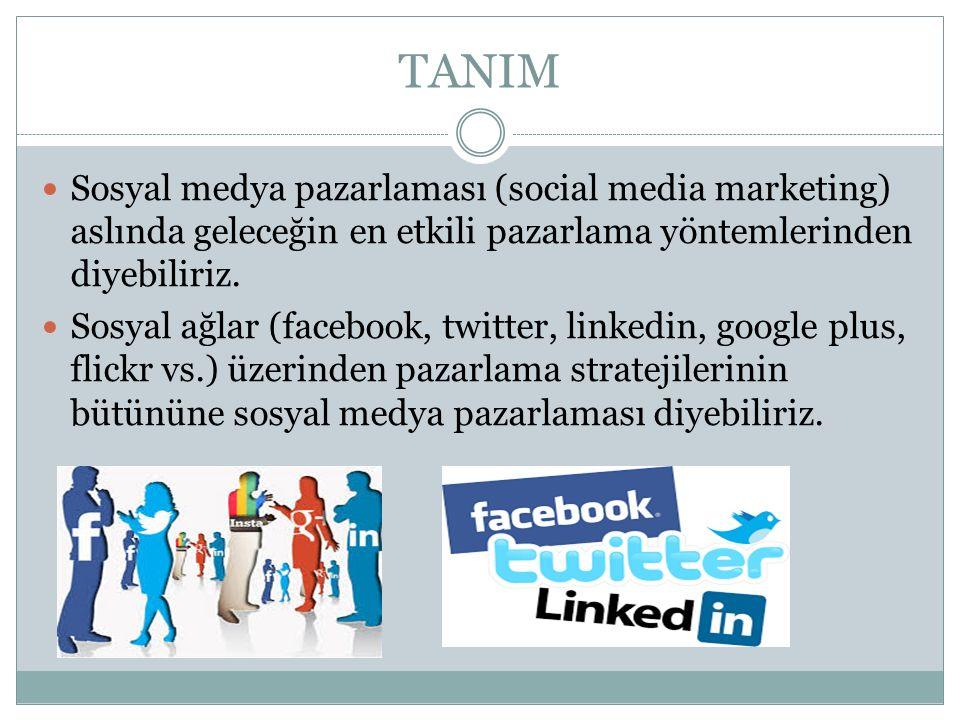 TANIM Sosyal medya pazarlaması (social media marketing) aslında geleceğin en etkili pazarlama yöntemlerinden diyebiliriz. Sosyal ağlar (facebook, twit