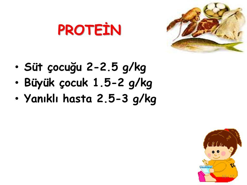 PROTEİN Süt çocuğu 2-2.5 g/kg Büyük çocuk 1.5-2 g/kg Yanıklı hasta 2.5-3 g/kg 13 / 17