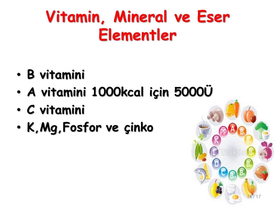 Vitamin, Mineral ve Eser Elementler B vitamini B vitamini A vitamini 1000kcal için 5000Ü A vitamini 1000kcal için 5000Ü C vitamini C vitamini K,Mg,Fosfor ve çinko K,Mg,Fosfor ve çinko 14 / 17