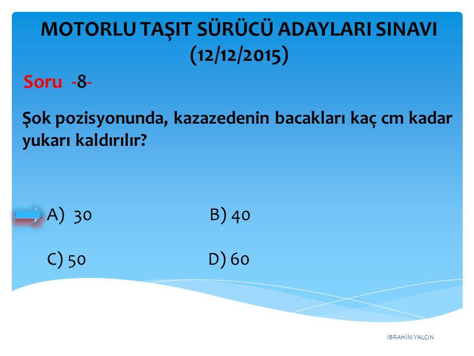 İBRAHİM YALÇIN MOTORLU TAŞIT SÜRÜCÜ ADAYLARI SINAVI (12/12/2015) Soru - 49 - A) Arka sis lambası ikaz ışığı B) Hava yastığı ikaz ışığı C) Akü şarj ikaz ışığı D) ABS fren sistemi ikaz ışığı Aracın gösterge panelinde bulunan şekildeki ikaz ışığı, aşağıdakilerden hangisidir?