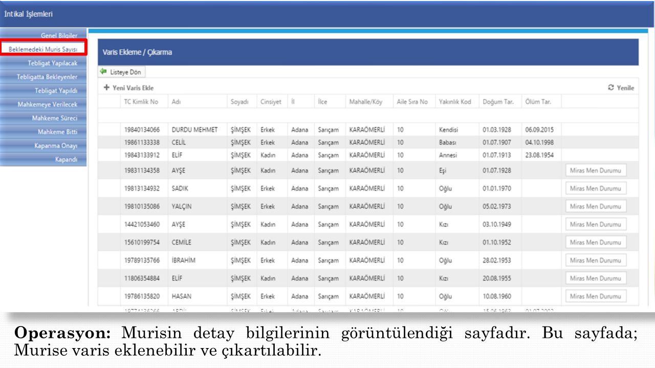 Operasyon: Murisin detay bilgilerinin görüntülendiği sayfadır. Bu sayfada; Murise varis eklenebilir ve çıkartılabilir.