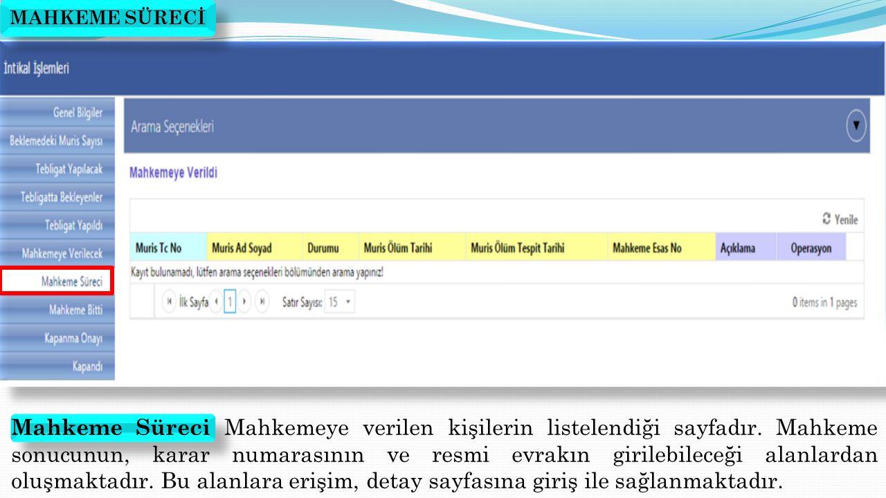 Mahkeme Süreci Mahkemeye verilen kişilerin listelendiği sayfadır. Mahkeme sonucunun, karar numarasının ve resmi evrakın girilebileceği alanlardan oluş