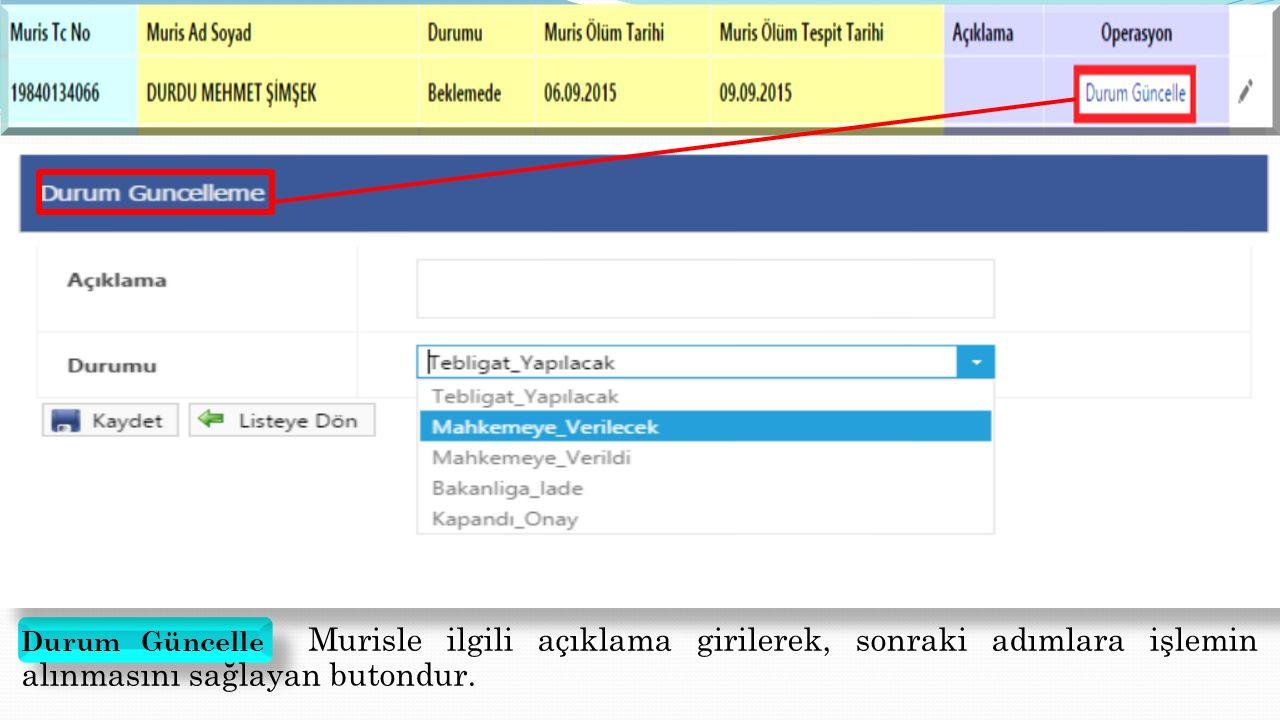 Arazi Konumu Murisin arazileri sayfasında bulunan arazi konumu butonuna basıldığında yukarıdaki gibi ilgili taşınmazın uydu görüntüsüne ulaşılır.