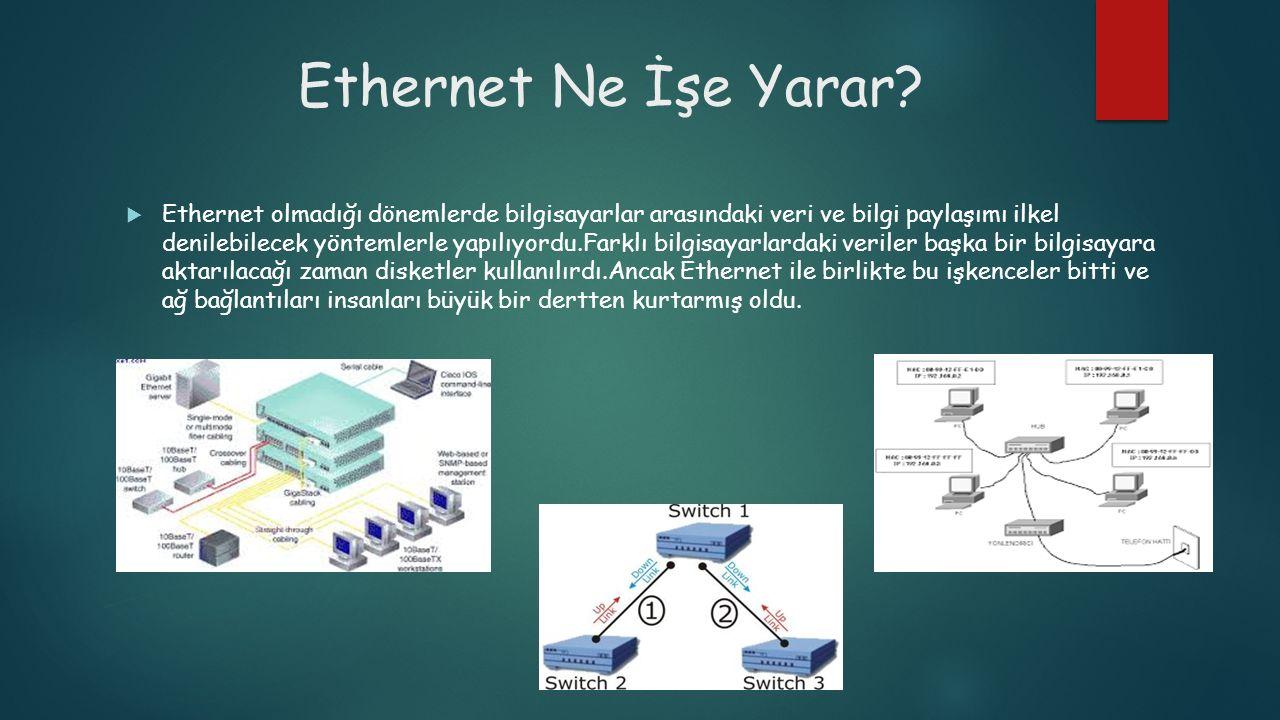 Ethernet Ne İşe Yarar?  Ethernet olmadığı dönemlerde bilgisayarlar arasındaki veri ve bilgi paylaşımı ilkel denilebilecek yöntemlerle yapılıyordu.Far