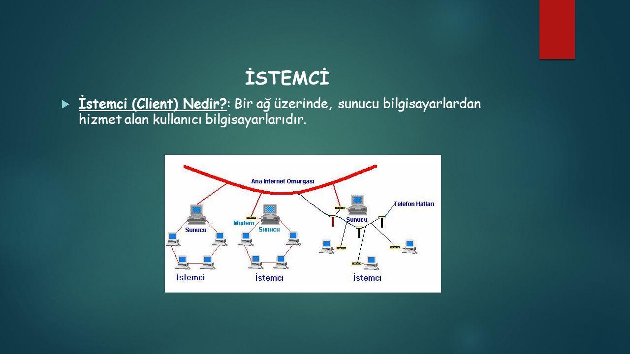 İSTEMCİ  İstemci (Client) Nedir?: Bir ağ üzerinde, sunucu bilgisayarlardan hizmet alan kullanıcı bilgisayarlarıdır.