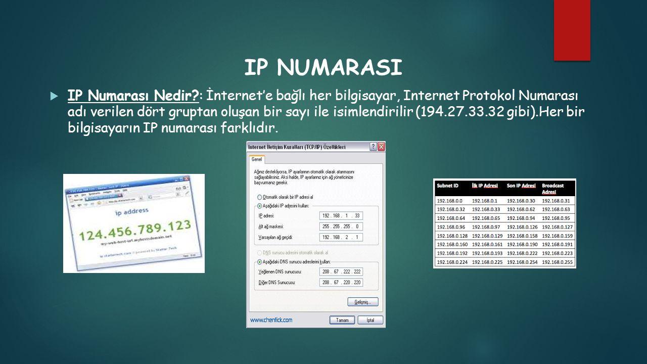 IP NUMARASI  IP Numarası Nedir?: İnternet'e bağlı her bilgisayar, Internet Protokol Numarası adı verilen dört gruptan oluşan bir sayı ile isimlendiri
