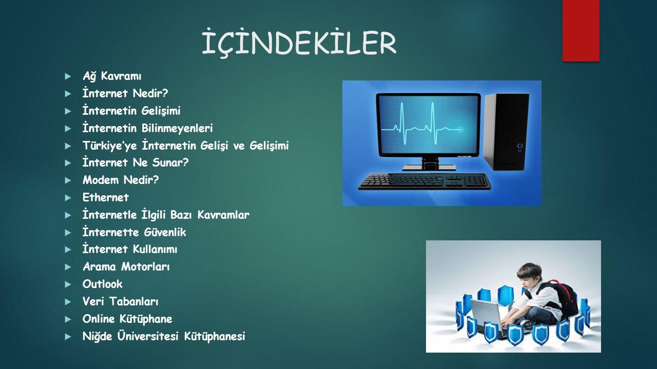 İÇİNDEKİLER  Ağ Kavramı  İnternet Nedir?  İnternetin Gelişimi  İnternetin Bilinmeyenleri  Türkiye'ye İnternetin Gelişi ve Gelişimi  İnternet Ne