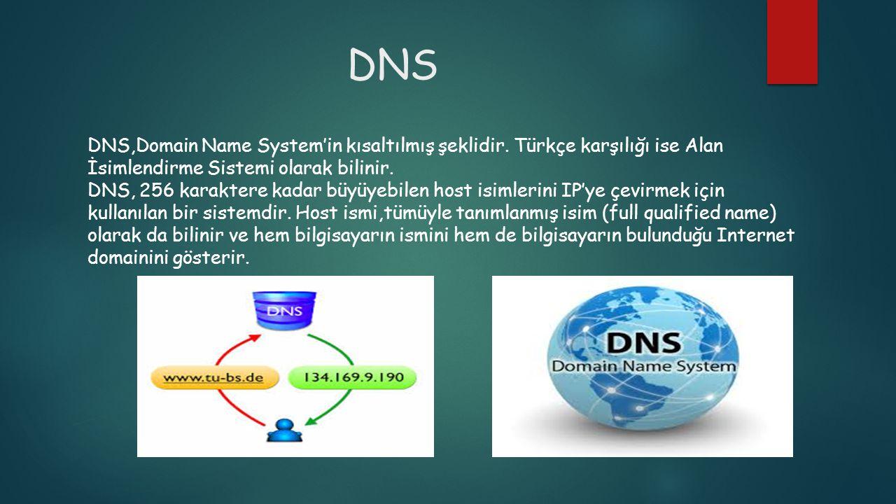 DNS DNS,Domain Name System'in kısaltılmış şeklidir. Türkçe karşılığı ise Alan İsimlendirme Sistemi olarak bilinir. DNS, 256 karaktere kadar büyüyebile
