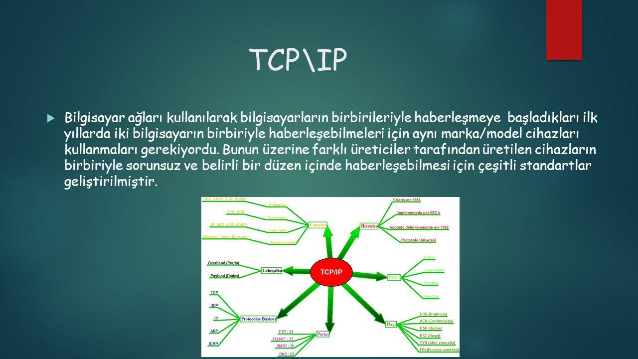 TCP\IP  Bilgisayar ağları kullanılarak bilgisayarların birbirileriyle haberleşmeye başladıkları ilk yıllarda iki bilgisayarın birbiriyle haberleşebil