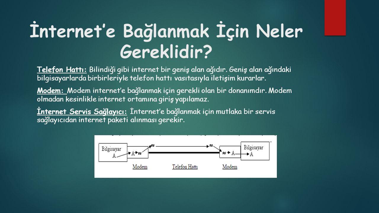 İnternet'e Bağlanmak İçin Neler Gereklidir? Telefon Hattı: Bilindiği gibi internet bir geniş alan ağıdır. Geniş alan ağındaki bilgisayarlarda birbirle
