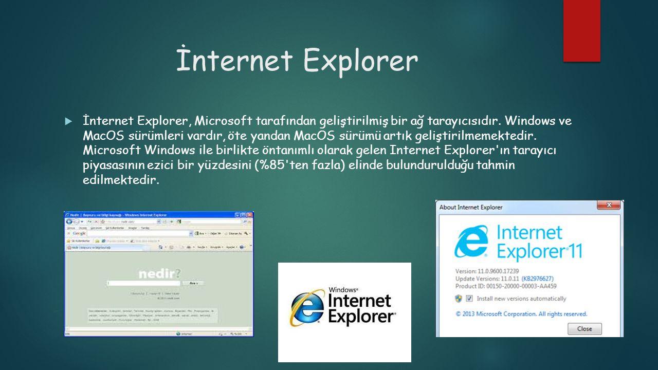 İnternet Explorer  İnternet Explorer, Microsoft tarafından geliştirilmiş bir ağ tarayıcısıdır. Windows ve MacOS sürümleri vardır, öte yandan MacOS sü