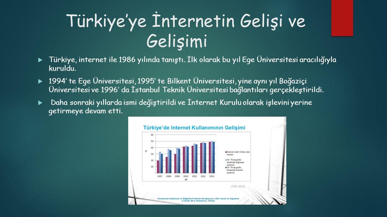 Türkiye'ye İnternetin Gelişi ve Gelişimi  Türkiye, internet ile 1986 yılında tanıştı. İlk olarak bu yıl Ege Üniversitesi aracılığıyla kuruldu.  1994