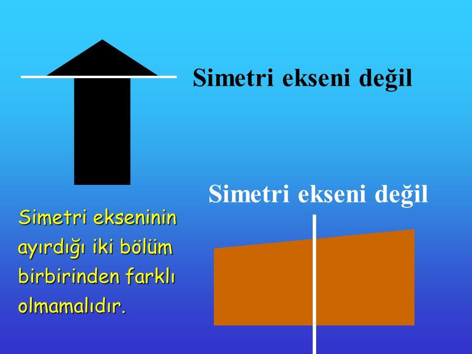 Simetri ekseni değil Simetri ekseninin ayırdığı iki bölüm birbirinden farklı olmamalıdır.